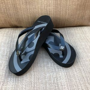 Tory Burch Black Emory Flip Flops  Wedges size 6 M